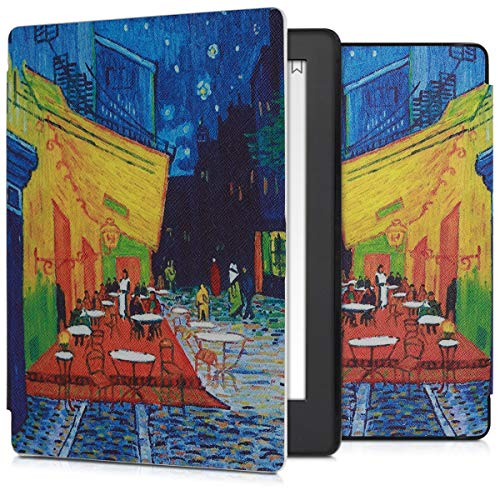 kwmobile Case Compatible with Kobo Aura H2O Edition 2 - Book Style PU Leather e-Reader Cover - Café Terrace at Night Blue/Yellow/Orange