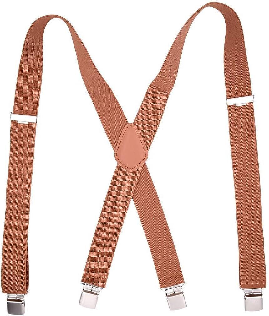 COMVIP Men's X-Shape with 4 Clips Adjustable Strap Braces Suspenders