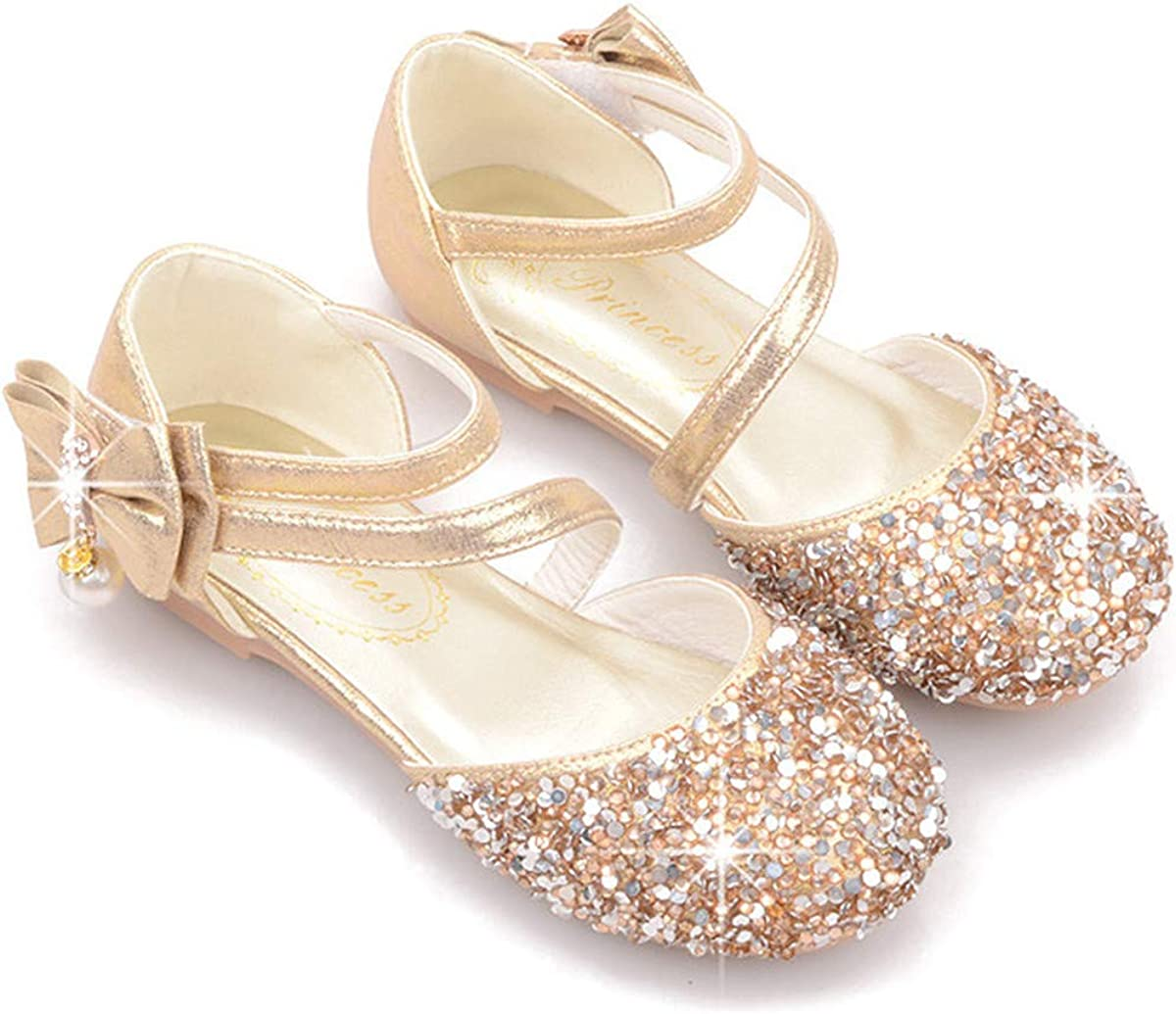 SHINUOER Girls Glitter Mary Jane Shoes Round Toe Ankle Strap Bow Flower Girls Wedding Party Dress Princess Flats