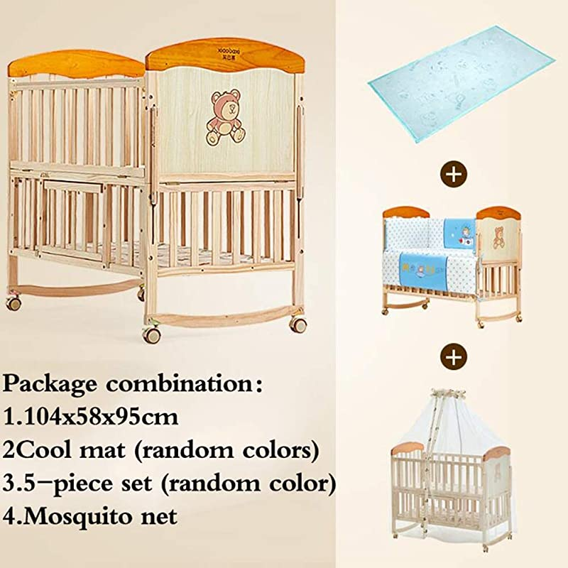 XY Crib Wood Color 4 In 1 Swinging Crib Combo Rocking Crib And Space Saving Cot Color 3