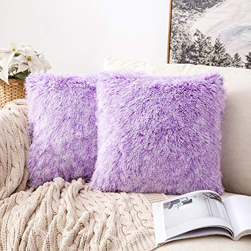 MIULEE Pack of 2 Ultra Soft Fluffy Throw Pillow Covers Decorative Plush Shaggy Double-Sided Faux Fur Pillow Cases Cushions Covers for Sofa Bedroom Car, 18x18 Inch, Purple Ombre