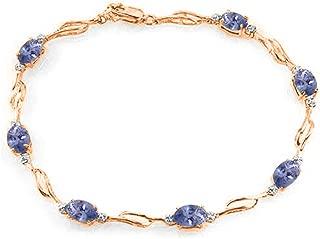 14K Solid Rose Gold Tennis Bracelet withTanzanite & Diamonds
