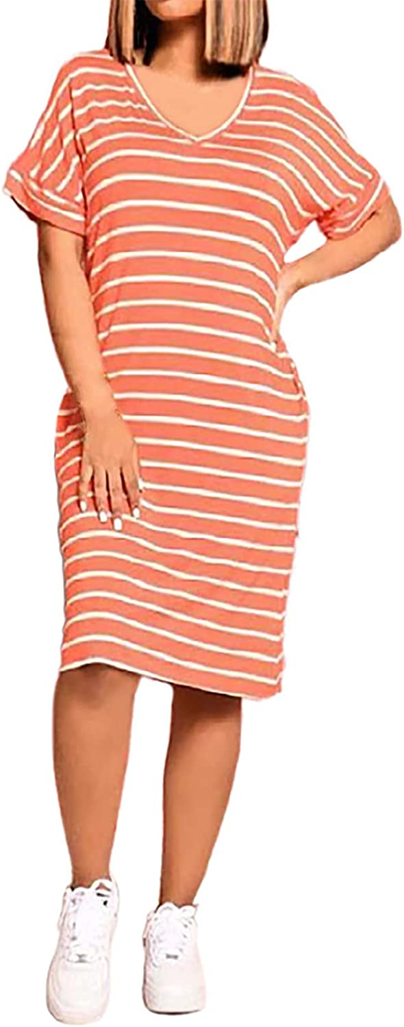 Casual Max 63% OFF 2021 autumn and winter new Summer Dress for Women V-Neck Sleev Striped Short Fashion