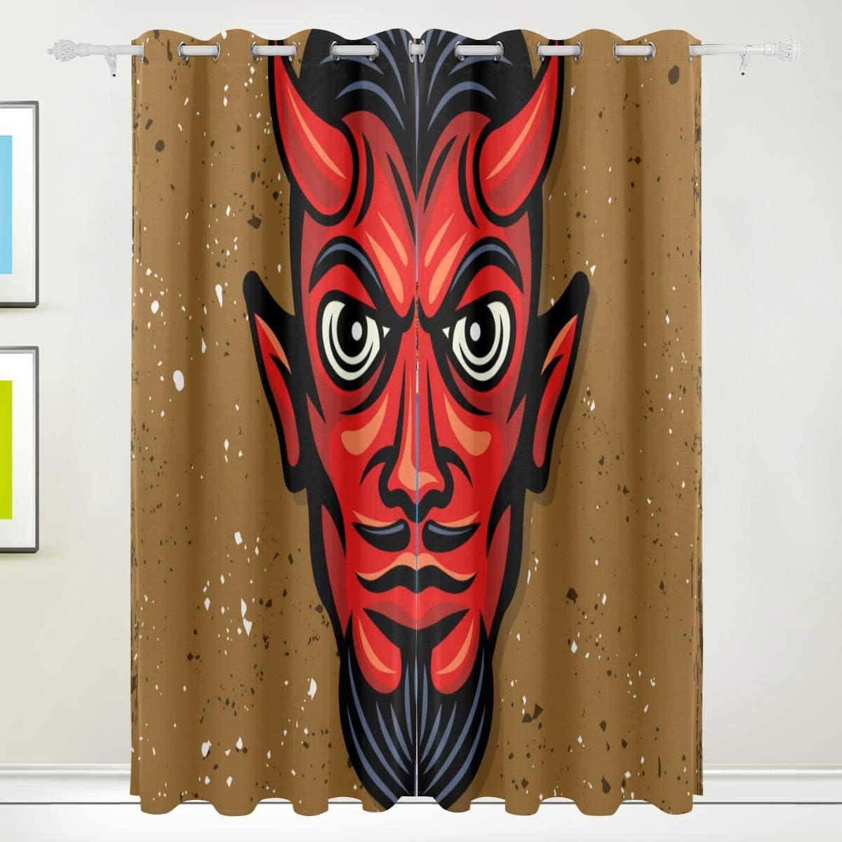 メーカー直売 YOLIKA Blackout Curtains 再再販 Red Devil Head Colored , Horns Vector