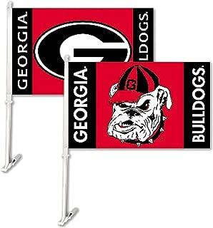 NCAA Georgia Bulldogs Car Flag Combo Logo with Free Wall Bracket (1 flag; 2 logos)