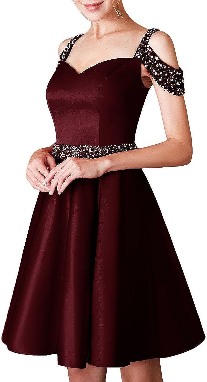 APXPF Women's Short Beaded Formal Prom Dresses Off Shoulder Backless Homecoming Dress Pocket