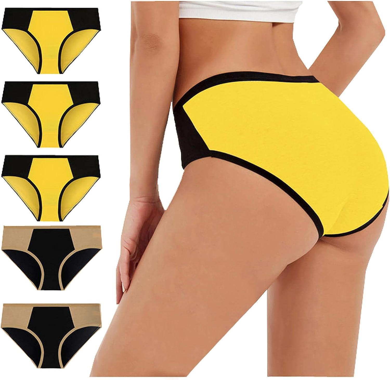 Women's 5 Piece High Waist Cotton Underwear Soft Breathable Ladies Panties No Muffin Stretch Briefs Plus Size