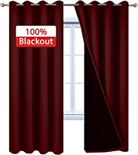Yakamok 2 Thick Layers 100% Completely Blackout Window Treatment Soundproof Drapes for Living Room,Thermal Insulated Curtains for Bedroom(52Wx84L, Burgundy Red, 2 Panels)