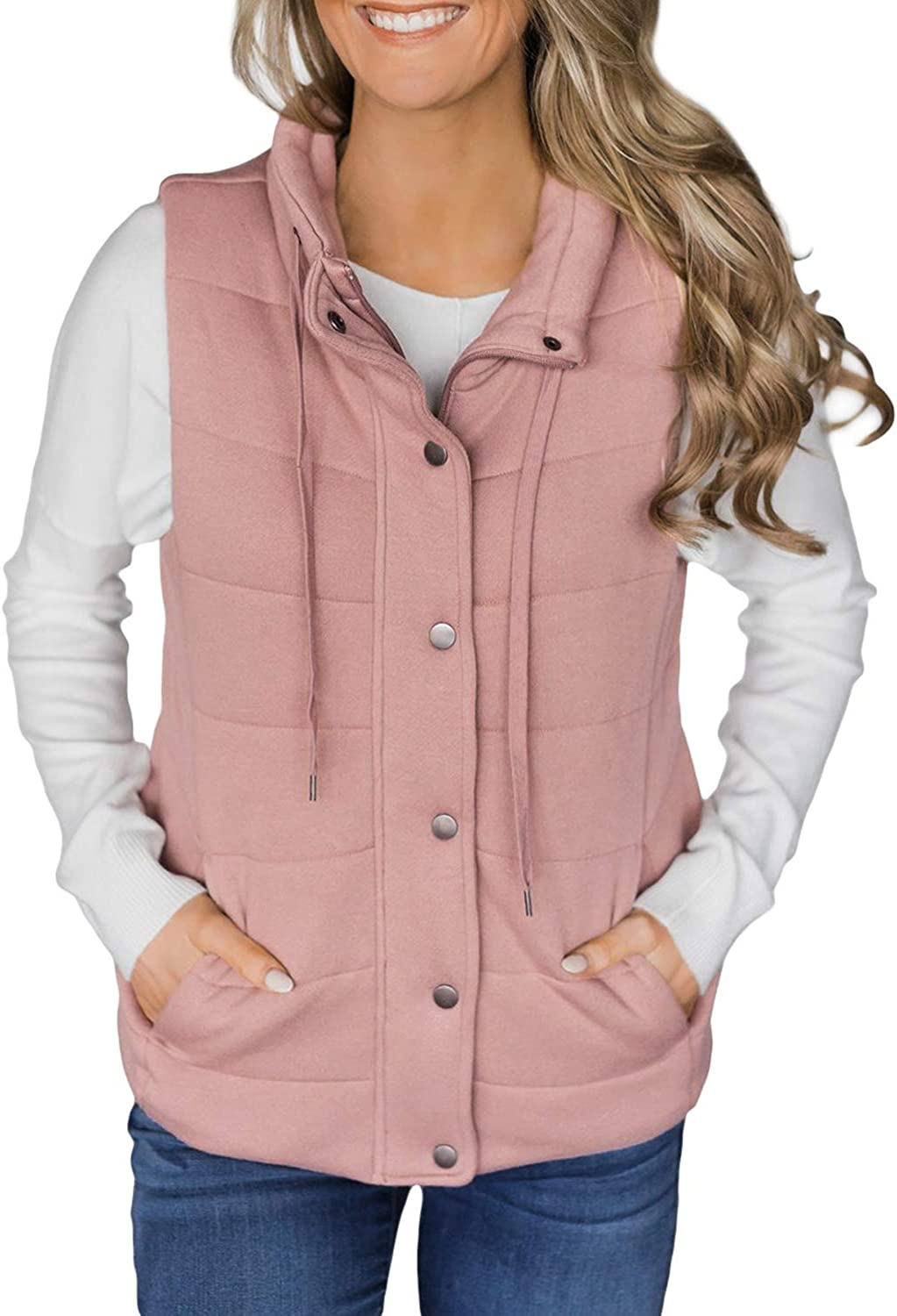 BLENCOT Women's Lightweight Quilted Zip and Snaps Up Puffer Vest Drawstring Jacket Outerwear Gilet