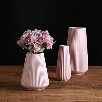 【Yuuming】フラワーベース 花器 花瓶 陶器 つや消し面 北欧モダンシンプルデザイン (中, ピンク)