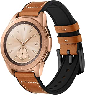 GOSETH Compatible with Gear Sport Bands/Galaxy(42mm) Band, 20mm Genuine Leather Buckle Strap Compatible with Samsung Gear Sport/Galaxy 42mm/Vivoactive 3/TicWatch E (Leather Brown2)