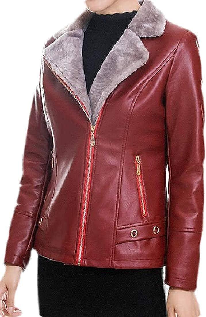 Women Thicken Fleece Lined Faux Leather Moto Biker Slim Coat Jacket