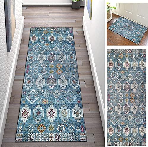 Teppich Läufer Flur rutschfest Waschbar 50X200cm Blau Korridor Teppich Küchenteppich Küchenmatte Teppichläufer für Esszimmer, Küche, Flur