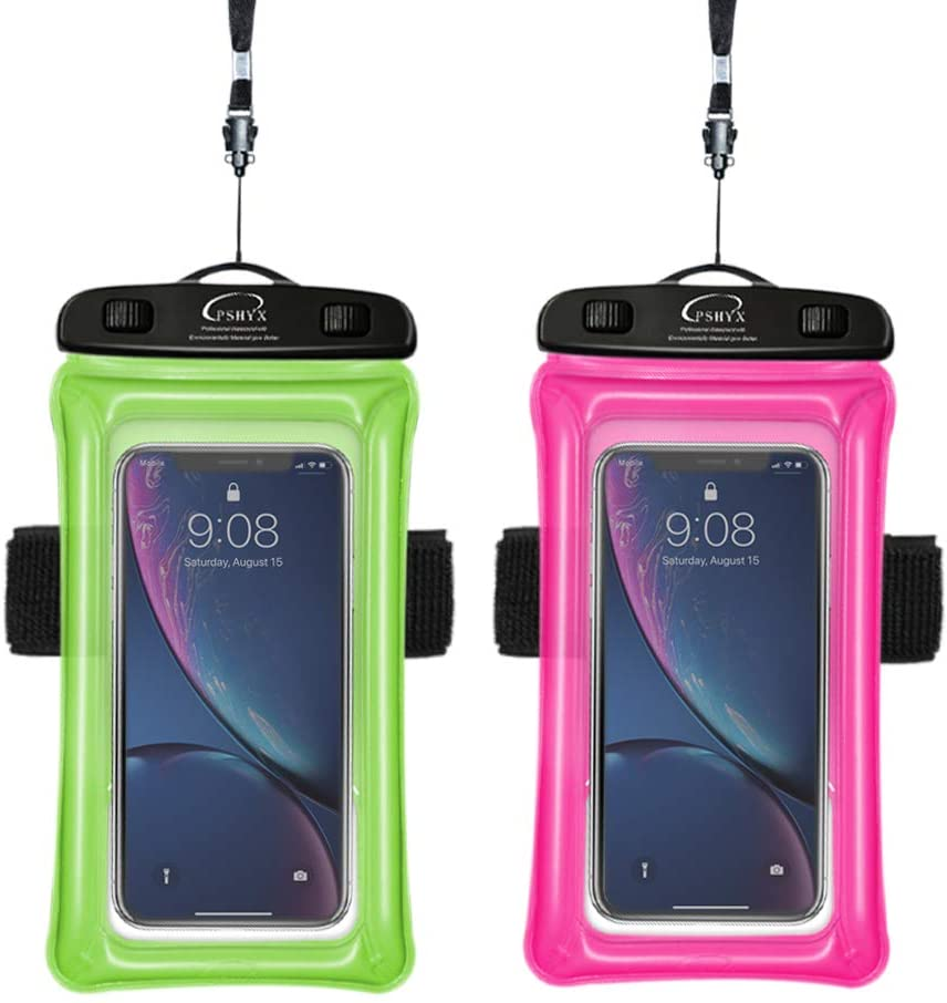 PSHYX Universal 100 Feet Waterproof Phone Bag Floating Case with Arm Band for iPhone 11 12 Pro Max XS XR X 8 7 6S Plus Samsung Google LG Phone up to 7 Inch (Pack of 2) (Pink+Green)