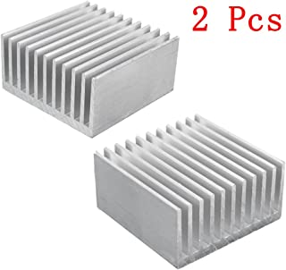 Aluminum Chipset Heatsink Radiator Heat Sink Cooling Fin Silver for CPU LED Power Active Component 40 x 40 x 20mm (2 Pcs) -Kalolary