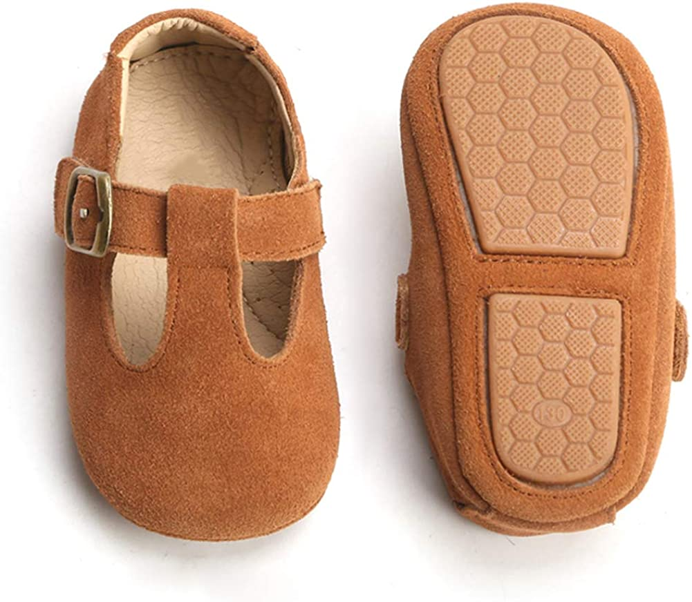 Baby Girls Soft Sole Leather Shoes T-Strap Mary Jane for Infant Prewalkers Toddler…