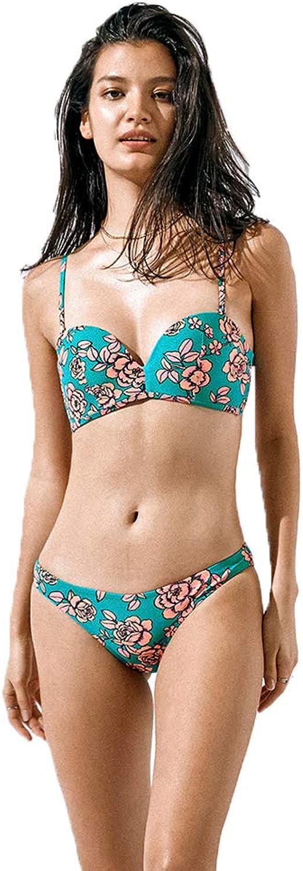 Bikini  sexy big chest steel ring gathered split twopiece swimsuit