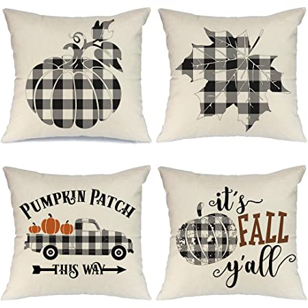 Amazon Com Aeney Fall Pillow Covers 18x18 Inch Set Of 4 Buffalo Check Plaid Pumpkin Throw Pillows For Fall Thanksgiving Decor Farmhouse Fall Decorations Decorative Pillows Home Kitchen