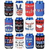 Funny Patriotic Beer Can Sleeves, Red, White, Blue (12 Pack)