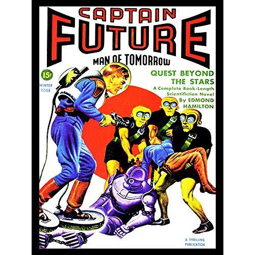 Wee Blue Coo Sci Fi Magazine Captain Future Aliens Robot Art Print Poster Wall Decor Kunstdruck Poster Wand-Dekor-12X16 Zoll