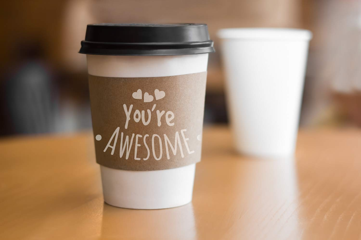 Best Offer Ohh Awesome Paper Cups | Disposable Coffee Cups | 12 Oz Cups 4in1 Disposable Drink Cup Bundle| 50 Disposable Coffe Cup with LIDS, Sleeves &