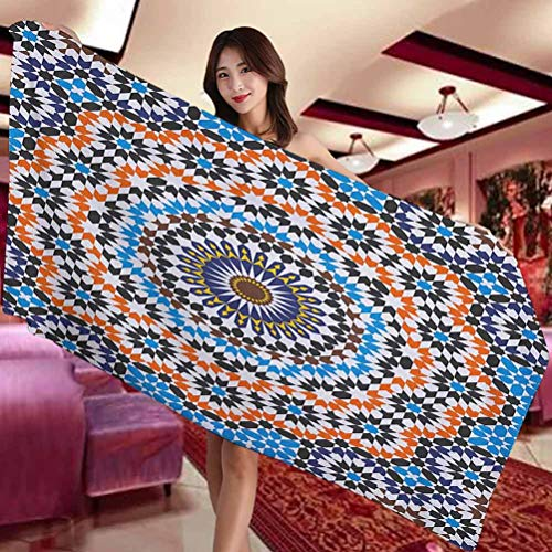 Vintage Hotel and Spa Comfortable bath towel Moroccan Ceramic Tile Inspired Floral Arabic Old Fashioned Cultural Mosaic Print Suitable for swimming pool Gym and bathroom W27 x L55 Inch Multicolor