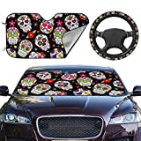 Sugar Skull 2pcs Car Front Sunshade Windshield and Steering Wheel Cover Set,Easy to Install,Universal Fit for Auto Truck Van SUV Protect Car Interior (Upgrade Hardened)
