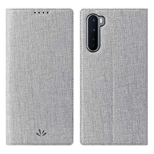 Foluu Oneplus Nord 5G Case, Flip Folio Wallet Cover Slim Premium PU Leather Case ID Credit Card Slots Stand Kickstand and Magnetic Closure Clear TPU Bumper Cover for Oneplus Nord 5G 2020 (Gray)