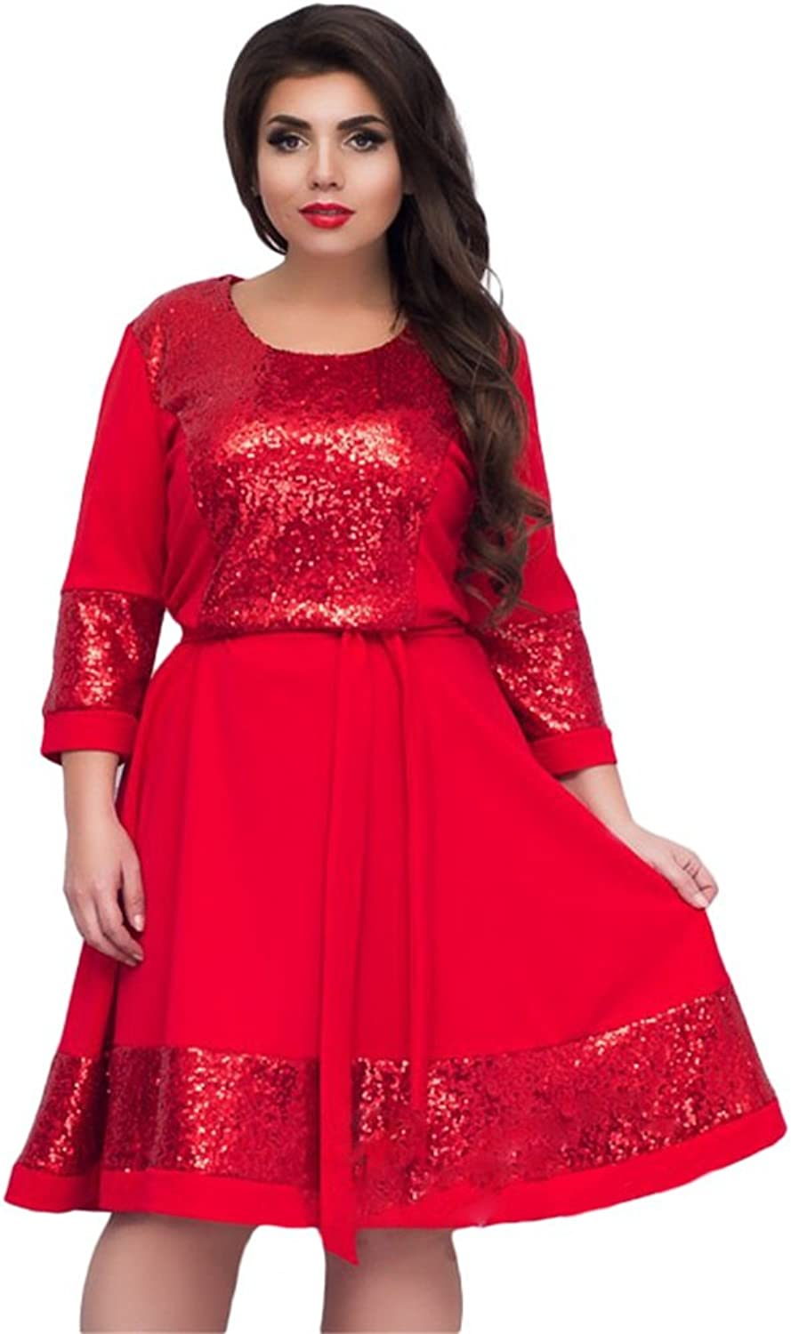 Women's Fluffy Dress,Ladies Fashion Belted Casual Round Neck Party Prom Dress,L6XL (color   Red, Size   XXL)