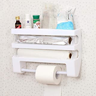 FOONEE Multi-Function Fridge Spice Rack Kitchen Organizer, 13 in 1 Kitchen Holder Rack Cling Film Tin Foil Paper Roll Dispenser Towel Storage Holder Rack,with Cling Film Cutting Tools,Wall Mounted