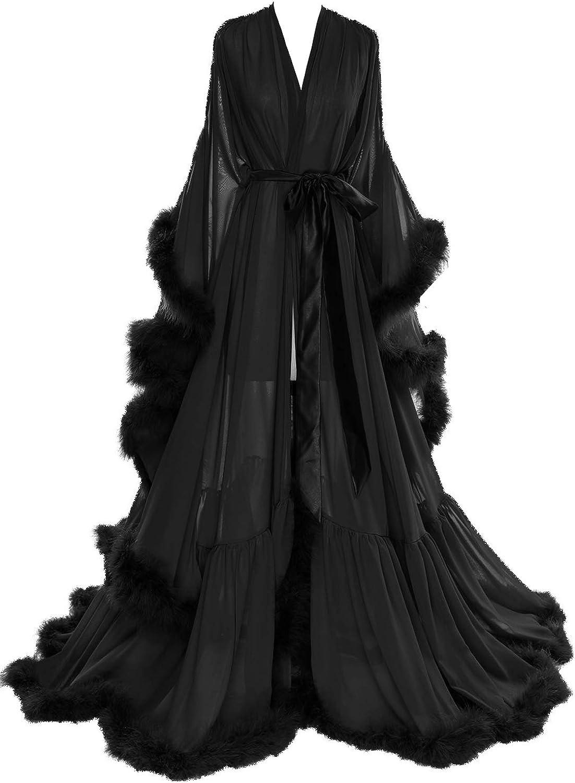 Molisa Limited time cheap sale Women's Sexy Feather Bridal Long Illus Robe Scarf Wedding Virginia Beach Mall