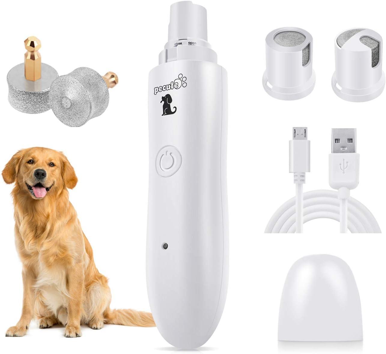 Pecute Lima de Uñas Eléctrica para Perro Gato Mascotas Mediano y Grande, Cortaunas Perro, Amoladora del Clavo Recargable y de Bajo Ruido, Dos Grados Velocidad Variable con Cable USB (L, Blanco)