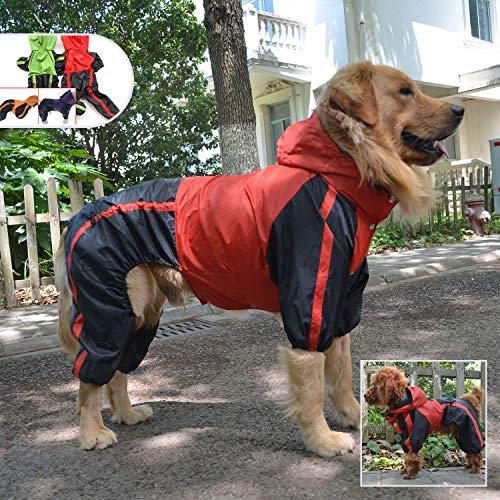lovelonglong Hunde Regenmantel mit Hoodie, Atmungsaktive Regenjacke mit Vier Beinen im Freien Einstellbare wasserdichte Regenjacke für Kleine, Mittel, Große Hunde Red L-XL+