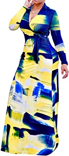Women's V Neck 3/4 Sleeve Digital Floral Printed Party Loose Long Maxi Dress with Belt S-3XL