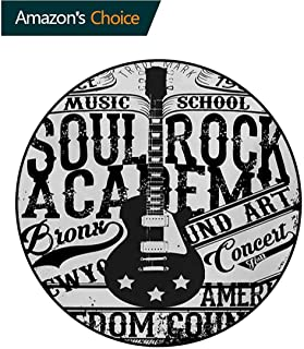 Retro Round Rug,Soul Rock Academy Theme Music School Electric Guitar Freedom Poster Like Image Carpet Door Pad for Bedroom/Living Room/Balcony/Kitchen Mat,Round-55 Inch Beige and Black