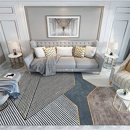 La Alfombra alfombras Infantil Fácil de Limpiar Gris Negro marrón diseño geométrico Alfombra Antideslizante Alfombra Pelo Corto Salon articulos de Cocina 200X300CM