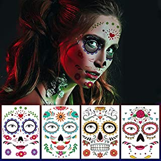 glaryyears 6 Sheets Halloween Face Temporary Tattoos, Day of the Dead Masquerade Party Makeup for Man Women Body Art Water...