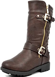 DREAM PAIRS Girls Toddler/Little Kid/Big Kid Faux Fur Lining Winter Motorcycle Riding Boots