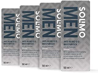 Marca Amazon - Solimo Men Crema hidratante facial Q10 Antiedad - Protección UV 4x50ml