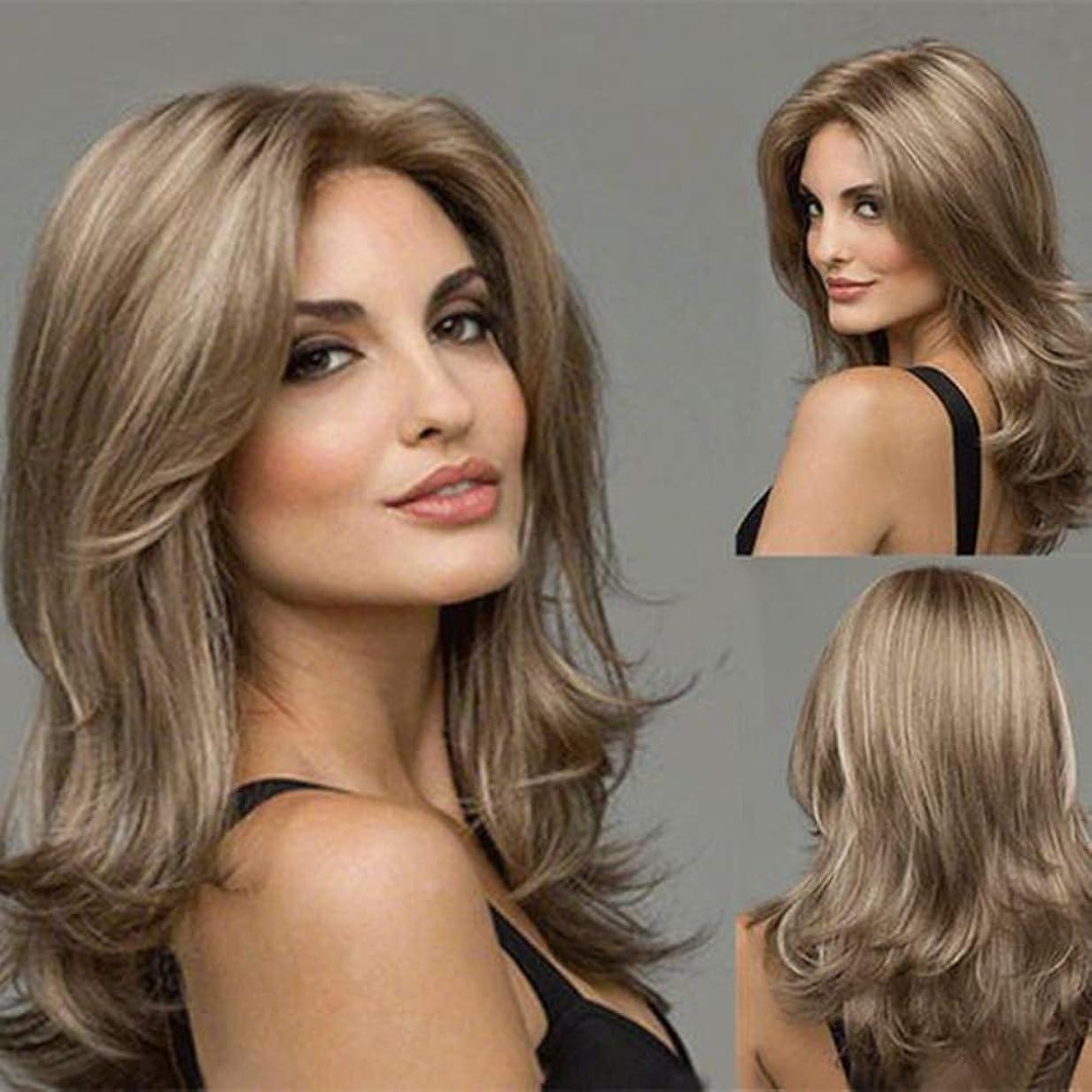 できた絵見習いZXF 新しいヨーロッパとアメリカのかつら女性のグラデーション波状の長い巻き毛のバラ純金かつらセット 美しい