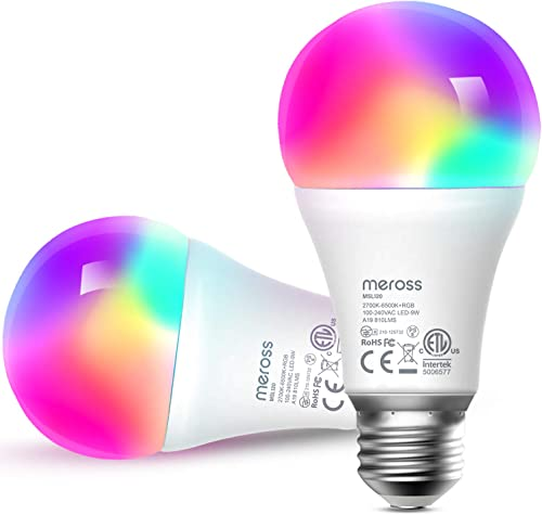 meross Smart Wi-Fi LED Bulb, E27 Light Bulb, Multiple Colors, RGBCW, 810 Lumens, 60W Equivalent, Compatible with Alex...