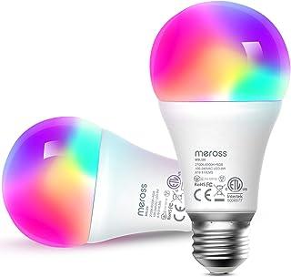 لامپ هوشمند ، لامپهای LED WiFi هوشمند Meross با الکسا ، Google Home ، Dimmable E26 Multicolor 2700K-6500K RGB ، 810 Lumens 60W معادل ، بدون توپی لازم است ، 2 بسته کار می کند