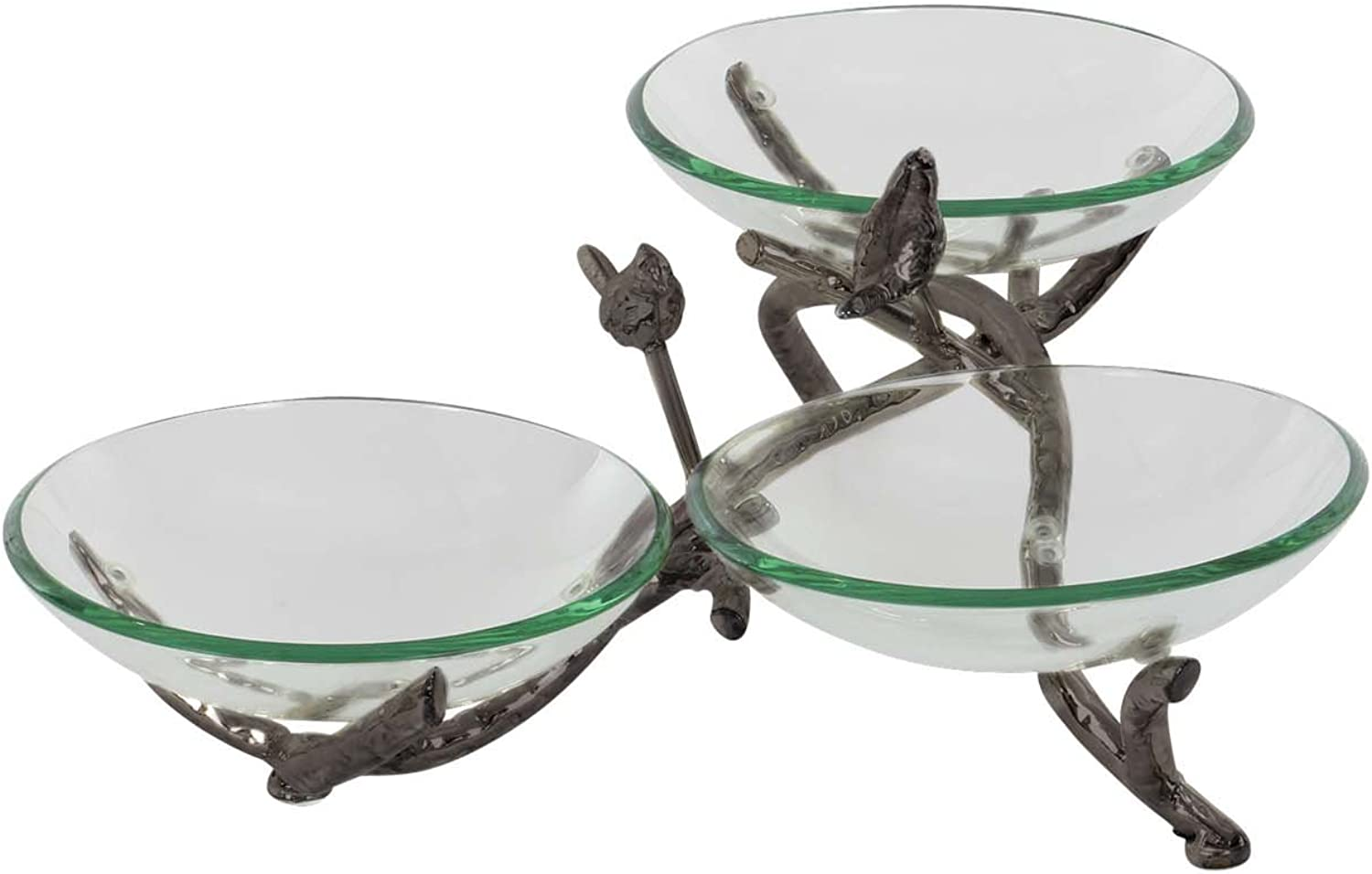 Deco 79 68583 Glass Triple Bowl with Iron Twig Holders and Stand, Black Green