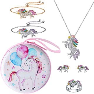 Hicdaw 7PCS Necklace for Unicorn Jewelry Set Include Bracelet Stud Earrings Coin Purse Ring Gift for Girls