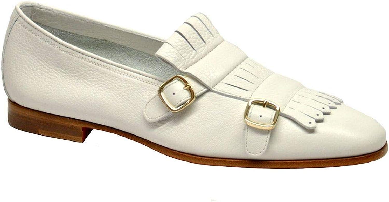 Santoni Women's WUCO54646BA3SDIWE90 White Leather Monk Strap shoes