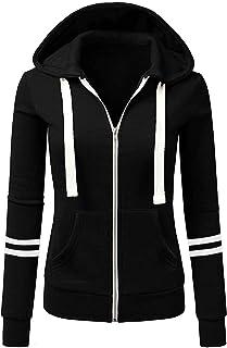 Sweat-Shirt Zippé à Capuche Femme Chic Élégant Grande Taille, Hoodie Slim Cardigan de Sports Manche Longue Couleur Unie, L...