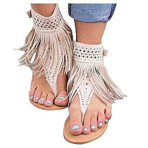 fbfcde2c05e72 Ru Sweet Womens Suede Tassels Thong Flat Sandals Flip Flops Fringe Shoes