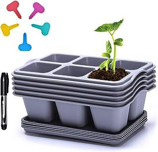 Seed Starter Trays,Plastic Flower Pots ,Succulent Planter Pots (30cells Gray)