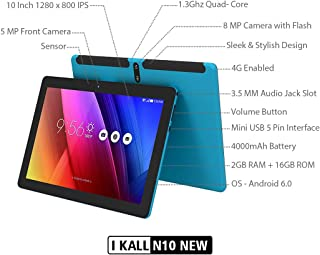 IKall 10 Inch Tablet with 2.5D Cuved IPS Display (Dual Sim, 2GB Ram, 16GB Internal Storage, 8MP Rear and 5MP Front Camera) - N10