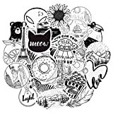 QTL Cute Stickers Black and White VSCO Stickers for Teen Girls Black White Stickers for Water Bottle Laptop Stickers for Adults Waterproof Stickers Packs 50Pcs